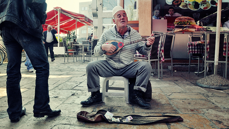 Busker at the market